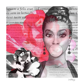 Retro Pinup Girl Flowers & Magazine Paper
