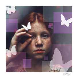 Little Girl in the Butterfly Garden