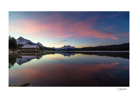 Sunrise full of colors in Maligne Lake, Jasper. Canada