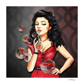 Retro Pinup Girl Blowing Strawberry Bubbles