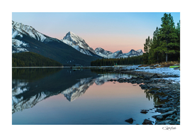 Reflections in Maligne Lake, Jasper. Alberta, Canada