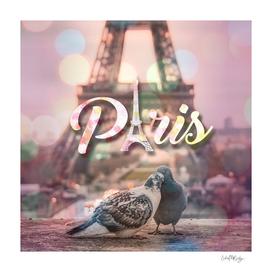 Kissing Birds by Eiffel Tower in Paris