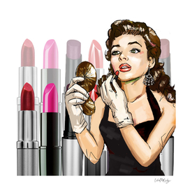 Retro Pinup Girl Lipstick Tubes Makeup
