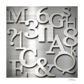 Silver Metallic Letters Numbers & Symbols