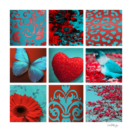 Red & Teal Girly Collage