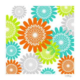 Warm Flower Stencils Lime Orange & Teal