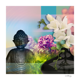 Colorful Buddha & Floral Collage