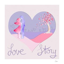 открытка Love story