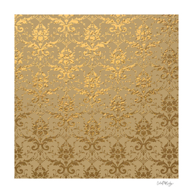 Gold Metallic Damask Beige
