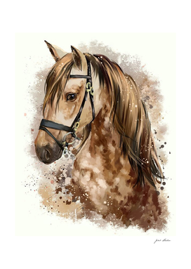 Custom  Beautiful Watercolor  Brown Horse