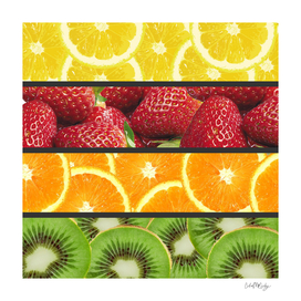 Colorful Fruit Grid Collage
