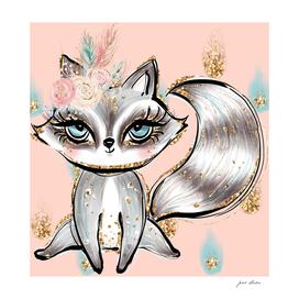 Custom Pastel Floral Glitter Raccoon