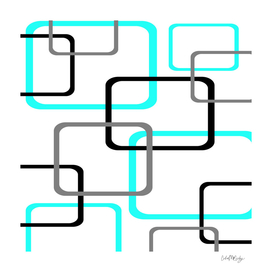 Geometric Rounded Rectangles Collage Teal