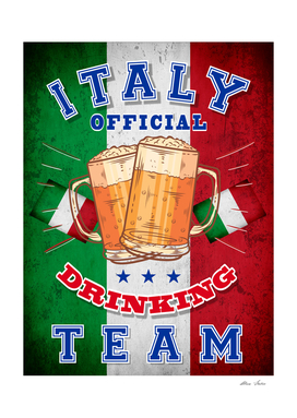 Italy Drinking Team, ITALIA, T-shirt, beer poster