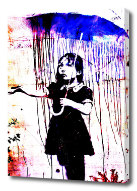 Banksy, Nola, Girl with umbrella, Banksy poster, color