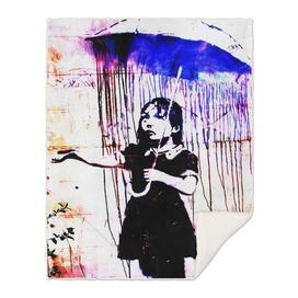 Banksy, Nola, Girl with umbrella, Banksy poster, color