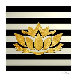 Horizontal Stripes & Gold Metallic Lotus Flower