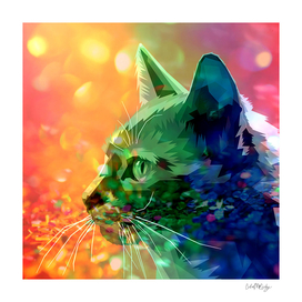 Rainbow-Colored Bejeweled Cat