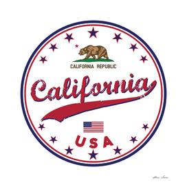 California, California poster, t-shirt, white circle