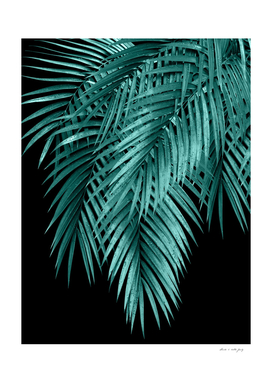 Palm Leaves Teal Night Vibes #1 #tropical #decor #art