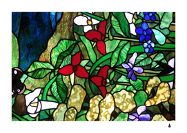 Stained glass art window church