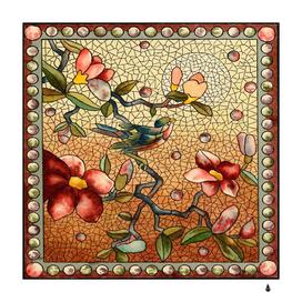 Flower cubism mosaic vintage