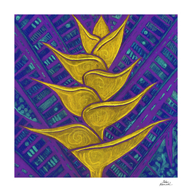 Heliconia, Yellow & Purple