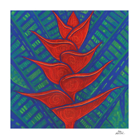 Heliconia, Red & Ultramarine Blue
