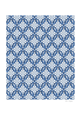 Indigo Blue Moroccan Tile Glam #3 #pattern #decor #art