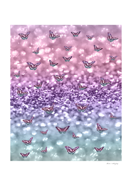 Pastel Unicorn Butterfly Glitter Dream #3 #shiny #decor #art