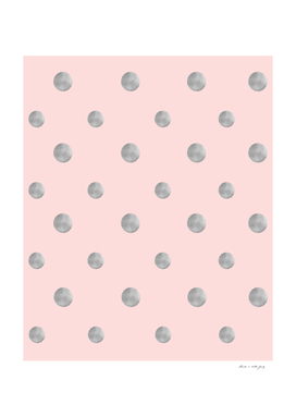 Happy Polka Dots Silver on Blush #1 #decor #art