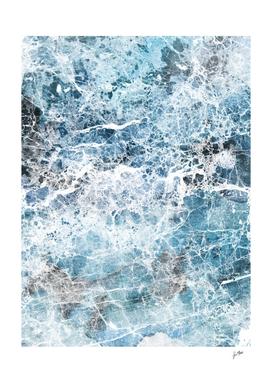 Sea foam blue marble