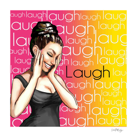 Retro Pinup Girl Laugh Typography