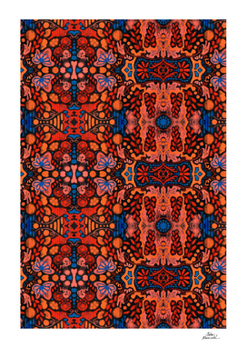Indian Summer, bohemian pattern, orange & blue