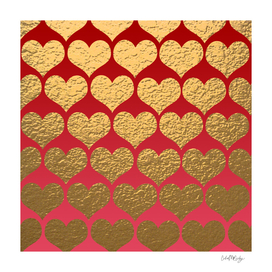 Gold Metallic Hearts