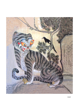 Tiger & Magpie By Tree