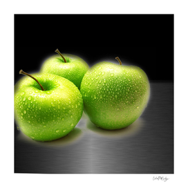 Wet Green Apples on Metallic Background