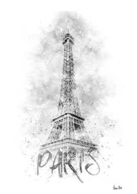 Monochrome Art EIFFEL TOWER | watercolor