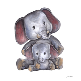 Custom Watercolor Elephants Mommy and Me