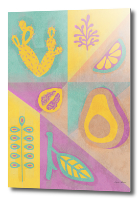 Botanical Slice of Fruit - Grunge Pattern