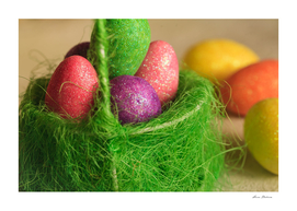Spring. Easter scene with painted eggs in a basket