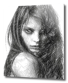 Female Expressions Sketch in Black and White 01223