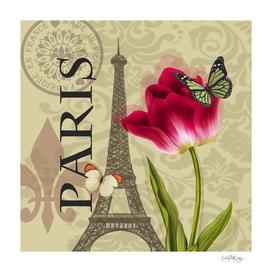 Vintage Paris & Flower Collage