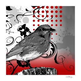 Trash Polka Bird & Flower Abstract