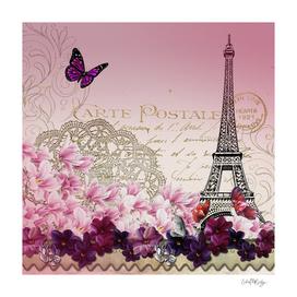 Vintage Paris Butterflies & Flowers Abstract