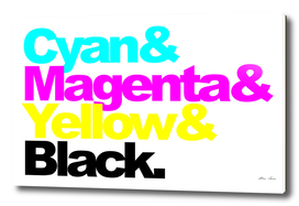 CMYK Poster, Cyan and Magenta and Yellow and Black