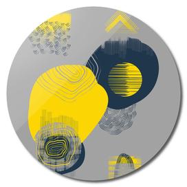 Decorative Shapes Melting on Gray