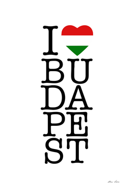 I LOVE Budapest, Hungary poster, Magyar, vertical version