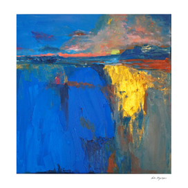 Sunset, cobalt lake, gold, abstract