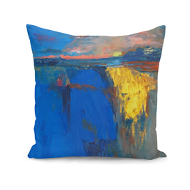 Sunset, cobalt lake, gold, abstract